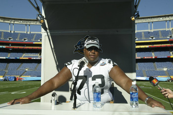 SAN DIEGO - JANUARY 21:  Lincoln Kennedy #72 of the Oakland Raiders fields questions from the press during Media Day on January 21, 2003 at Qualcomm Stadium in San Diego, California.  The Raiders will play the Tampa Bay Buccaneers in Super Bowl XXXVII on