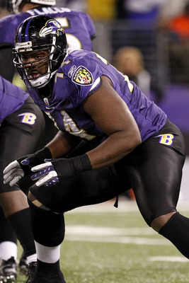 BALTIMORE, MD - DECEMBER 05:  Michael Oher #74 of the Baltimore Ravens blocks against the Pittsburgh Steelers at M&T Bank Stadium on December 5, 2010 in Baltimore, Maryland.  (Photo by Geoff Burke/Getty Images)