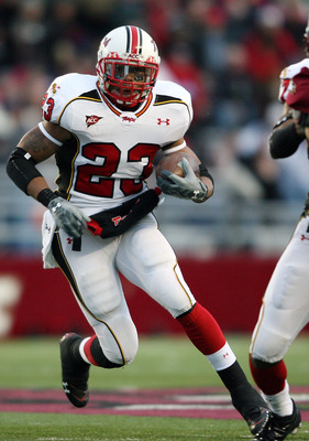 CHESTNUT HILL, MA - NOVEMBER 29:  Da'Rel Scott #23 of the Maryland Terrapins carries the ball in the first half against the Boston College Eagles on November 29, 2008 at Alumni Stadium in Chestnut Hill, Massachusetts.  (Photo by Elsa/Getty Images)