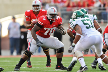 COLUMBUS, OH - SEPTEMBER 25:  Bryant Browning #70 of the Ohio State Buckeyes blocks against the Eastern Michigan Eagles at Ohio Stadium on September 25, 2010 in Columbus, Ohio.  Ohio State won 73-20. (Photo by Jamie Sabau/Getty Images)