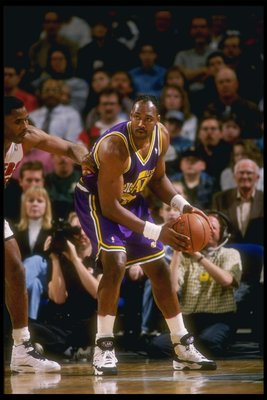 24 Feb 1995: Forward Karl Malone of the Utah Jazz moves the ball during a game against the Portland Trail Blazers at the Rose Garden in Portland, Oregon. The Blazers won the game, 114-101.