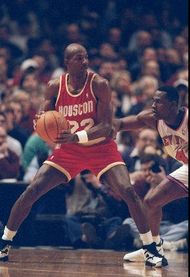 19 Feb 1995:  Guard Clyde Drexler of the Houston Rockets moves the ball during a game against the New York Knicks.  The Knicks won the game, 122-117. Mandatory Credit: Jed Jacobsohn  /Allsport