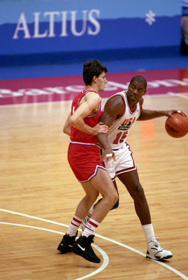 BARCELONA, SPAIN - AUGUST 8:  Earvin Magic Johnson #15 of the United States moves the ball in the 1992 Olympic game against Croatia on August 8, 1992 in Barcelona, Spain. The 'Dream Team' defeated Croatia 117-85. NOTE TO USER: User expressly acknowledges