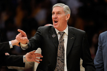 LOS ANGELES, CA - APRIL 19:  Head coach Jerry Sloan of the Utah Jazz argues a call and receives a technical foul in the first quarter against the Los Angeles Lakers in Game One of the Western Conference Quarterfinals during the 2009 NBA Playoffs at Staple