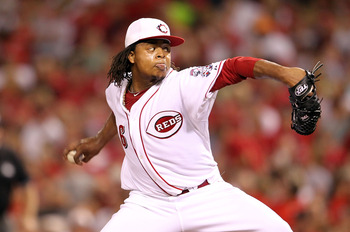 CINCINNATI - SEPTEMBER 11:  Edison Volquez #36 of the Cincinnati Reds throws a pitch during the game against the Pittsburg Pirates at Great American Ball Park on September 11, 2010 in Cincinnati, Ohio.  (Photo by Andy Lyons/Getty Images)