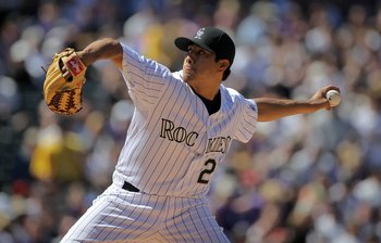 DENVER - APRIL 09:  Starting pitcher Jorge De La Rosa #29 of the Colorado Rockies delivers against the San Diego Padres during MLB action on Opening Day at Coors Field on April 9, 2010 in Denver, Colorado. De La Rosa earned the win as the Rockies defeated