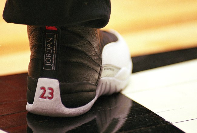 9 Feb 1997: A close-up of Michael Jordan #23 of the Chicago Bulls shoe during the NBA All-Star Practice at the Gund Arena in Cleveland, Ohio.The East defeated the West 132-120 .