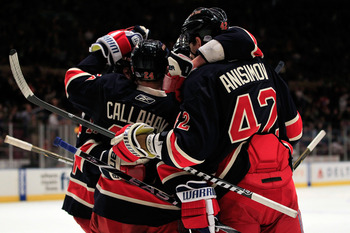 Rangers Power Play unit celebrating one of three goals