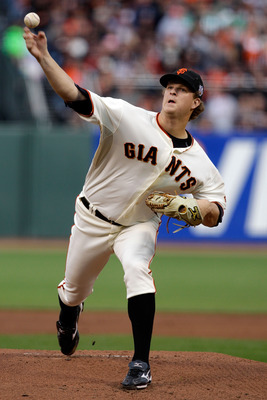 SAN FRANCISCO - OCTOBER 28:  Starting pitcher Matt Cain #18 of the San Francisco Giants pitches in the first inning against the Texas Rangers in Game Two of the 2010 MLB World Series at AT&T Park on October 28, 2010 in San Francisco, California.  (Photo b