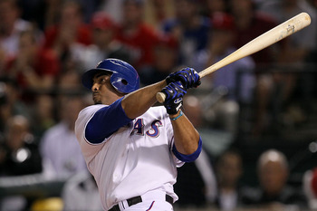 ARLINGTON, TX - OCTOBER 22:  Nelson Cruz #17 of the Texas Rangers hits a 2-run home run in the bottom of the fifth inning against the New York Yankees in Game Six of the ALCS during the 2010 MLB Playoffs at Rangers Ballpark in Arlington on October 22, 201