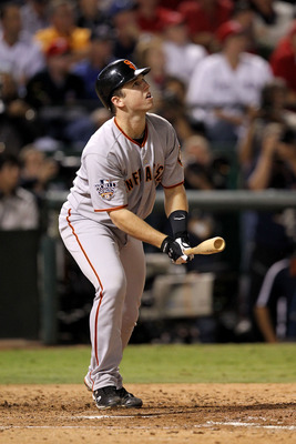 ARLINGTON, TX - NOVEMBER 01:  Buster Posey #28 of  the San Francisco Giants bats against the Texas Rangers in Game Five of the 2010 MLB World Series at Rangers Ballpark in Arlington on November 1, 2010 in Arlington, Texas. The Giants won 3-1.  (Photo by R
