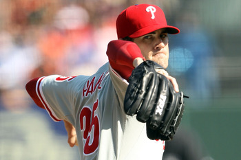 SAN FRANCISCO - OCTOBER 19:  Cole Hamels #35 of the Philadelphia Phillies pitches in the first inning against the San Francisco Giants in Game Three of the NLCS during the 2010 MLB Playoffs at AT&T Park on October 19, 2010 in San Francisco, California.  (