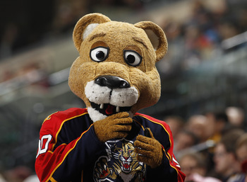 SUNRISE, FL - FEBRUARY 8: The Florida Panthers mascot in the stands during the game against the St. Louis Blues on February 8, 2011 at the BankAtlantic Center in Sunrise, Florida. The Blues defeated the Panthers 2-1. (Photo by Joel Auerbach/Getty Images)