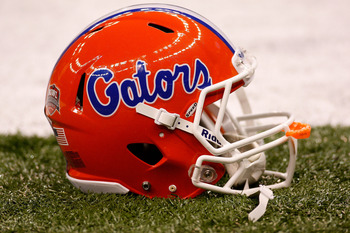 NEW ORLEANS - JANUARY 01:  A detailed picture of a Florida Gators helmet before the Gators take on the Cincinnati Bearcats in the Allstate Sugar Bowl at the Louisana Superdome on January 1, 2010 in New Orleans, Louisiana.  (Photo by Chris Graythen/Getty I