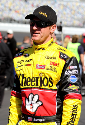 DAYTONA BEACH, FL - FEBRUARY 13:  Clint Bowyer, driver of the #33 Cheerios Chevrolet,  looks on during qualifying for the NASCAR Sprint Cup Series Daytona 500 at Daytona International Speedway on February 13, 2011 in Daytona Beach, Florida.  (Photo by Jer