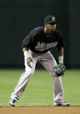 PHOENIX - JULY 11:  Infielder Hanley Ramirez #2 of the Florida Marlins in action during the Major League Baseball game against the Arizona Diamondbacks at Chase Field on July 11, 2010 in Phoenix, Arizona.  The Marlins defeated the Diamondbacks 2-0.  (Phot
