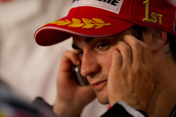 FLORENCE, ITALY - JUNE 06:  Dani Pedrosa of Spain and Repsol Honda Team speaks on the mobile phone after the press conference after the end of MotoGP race of Grand Prix of Italy on June 6, 2010 in Mugello Circuit near Florence, Italy.  (Photo by Mirco Laz