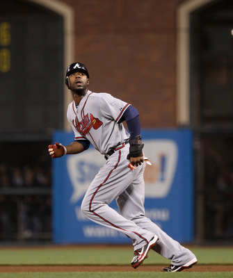 SAN FRANCISCO - OCTOBER 07:  Jason Heyward #22 of the Atlanta Braves runs to second base during their game against the San Francisco Giants in game 1 of the NLDS at AT&T Park on October 7, 2010 in San Francisco, California.  (Photo by Ezra Shaw/Getty Imag