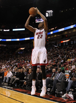 MIAMI, FL - JANUARY 22: James Jones #22 of the Miami Heat shoots a jumpshot during a game against the Toronto Raptors at American Airlines Arena on January 22, 2011 in Miami, Florida. NOTE TO USER: User expressly acknowledges and agrees that, by downloadi