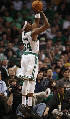 BOSTON, MA - JANUARY 25:  Paul Pierce #34 of the Boston Celtics takes a shot in the first quarter against the Cleveland Cavaliers on January 25, 2011 at the TD Garden in Boston, Massachusetts.   NOTE TO USER: User expressly acknowledges and agrees that, b