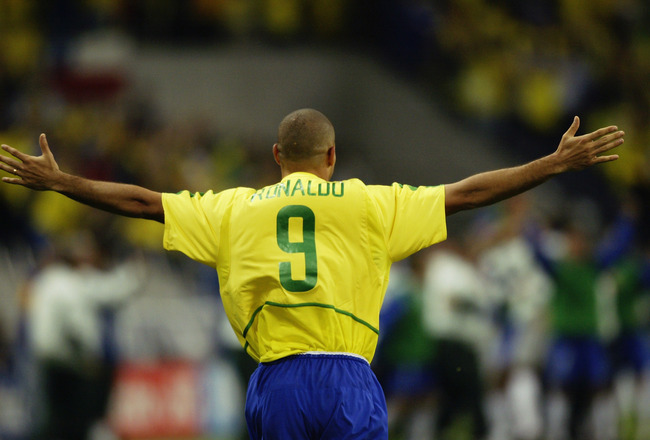 SAITAMA-KEN - JUNE 26:  Ronaldo of Brazil celebrates scoring the winning goal during the FIFA World Cup Finals 2002 Semi-Final match between Brazil and Turkey played at the Saitama Stadium, in Saitama-Ken, Japan on June 26, 2002. Brazil won the match 1-0.