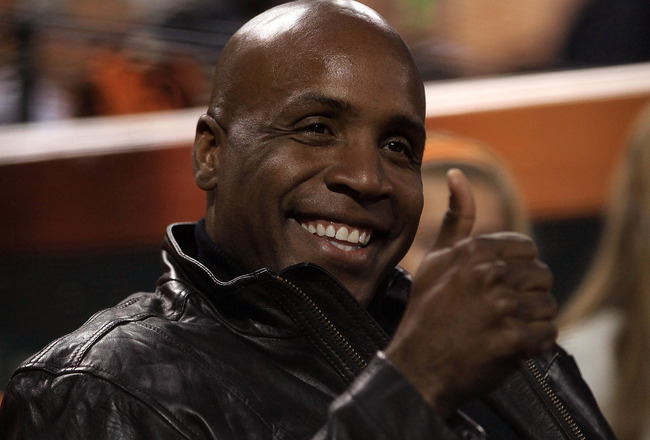 SAN FRANCISCO - OCTOBER 27:  Barry Bonds gestures from his seat during Game One of the 2010 MLB World Series at AT&T Park on October 27, 2010 in San Francisco, California.  (Photo by Ezra Shaw/Getty Images)