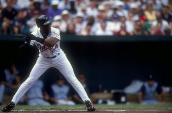 25 Jul 1998:  Outfielder Eric Davis #24 of the Baltimore Orioles in action during a game against the Seattle Mariners at the Camden Yards in Baltimore, Maryland. The Mariners defeated the Orioles 4-2. Mandatory Credit: Doug Pensinger  /Allsport