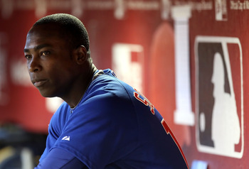 PHOENIX - JULY 05:  Alfonso Soriano #12 of the Chicago Cubs sits in the dugout during the Major League Baseball game against the Arizona Diamondbacks at Chase Field on July 5, 2010 in Phoenix, Arizona.  (Photo by Christian Petersen/Getty Images)