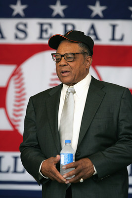 COOPERSTOWN, NY - JULY 31: Hall of Famer Willie Mays attends the Baseball Hall of Fame Induction ceremony on July 31, 2005 at the Clark Sports Complex in Cooperstown, New York.  (Photo by Ezra Shaw/Getty Images)