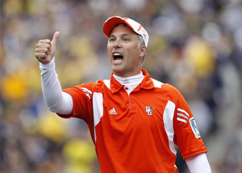 ANN ARBOR, MI - SEPTEMBER 25: Bowling Green Head Coach Dave Clawson reacts during the game against  the Michigan Wolverines on September 25, 2010 at Michigan Stadium in Ann Arbor, Michigan. Michigan defeated Bowling Green 65-21.  (Photo by Leon Halip/Gett