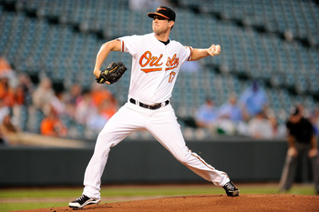 BALTIMORE - SEPTEMBER 13:  Brian Matusz #17 of the Baltimore Orioles pitches against the Toronto Blue Jays at Camden Yards on September 13, 2010 in Baltimore, Maryland.  (Photo by Greg Fiume/Getty Images)