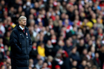 LONDON, ENGLAND - FEBRUARY 12:  Arsenal manager Arsene Wenger during the Barclays Premier League match between Arsenal and Wolverhampton Wanderers on February 12, 2011 in London, England.  (Photo by Scott Heavey/Getty Images)