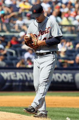 NEW YORK - AUGUST 19:  Rick Porcello #48 of the Detroit Tigers kicks at the mound during the sixth inning against the New York Yankees on August 19, 2010 at Yankee Stadium in the Bronx borough of New York City.  (Photo by Jim McIsaac/Getty Images)