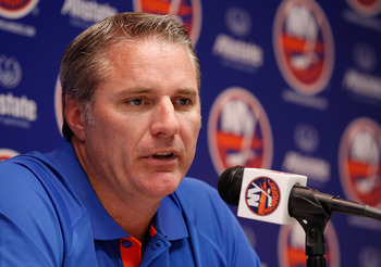UNIONDALE, NY - SEPTEMBER 21:  General manager Garth Snow of the New York Islanders speaks to the media on September 21, 2010 at Nassau Coliseum in Uniondale.  (Photo by Mike Stobe/Getty Images)