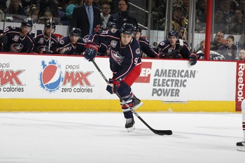 COLUMBUS, OH - JANUARY 11: Rostislav Klesla #97 of the Columbus Blue Jackets skates against the Phoenix Coyotes during a game on January 11, 2011 at the Nationwide Arena in Columbus, Ohio. (Photo by Gregory Shamus/Getty Images)