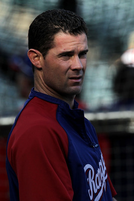 ARLINGTON, TX - NOVEMBER 01:  Michael Young #10 of the Texas Rangers looks on during batting practice against the San Francisco Giants in Game Five of the 2010 MLB World Series at Rangers Ballpark in Arlington on November 1, 2010 in Arlington, Texas.  (Ph