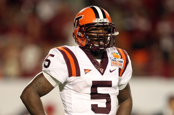MIAMI, FL - JANUARY 03:  Tyrod Taylor #5 of the Virginia Tech Hokies look towards the sideline against the Stanford Cardinal during the 2011 Discover Orange Bowl at Sun Life Stadium on January 3, 2011 in Miami, Florida. Stanford won 40-12.  (Photo by Stre