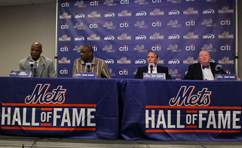 NEW YORK - JULY 31:  (L-R) Former players Darryl Strawberry and Dwight Gooden join former manager Davey Johnson and former general manager Frank Cashen during a press conference for their induction into the New York Mets Hall of Fame prior to the game aga