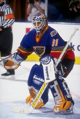 29 Apr 1998:  Goaltender Grant Fuhr of the St. Louis Blues in action during a game against the Los Angeles Kings at the Great Western Forum in Inglewood, California. The Blues defeated the Kings 2-1. Mandatory Credit: Todd Warshaw  /Allsport