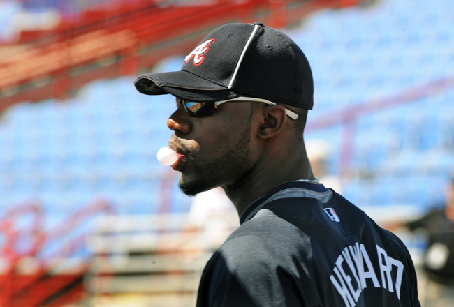 DUNEDIN, FL - MARCH 14:  Outfielder Jason Heyward #71 of the Atlanta Braves takes batting practice before play against the Toronto Blue Jays March 14, 2010 at the Dunedin Stadium in Dunedin, Florida. (Photo by Al Messerschmidt/Getty Images)