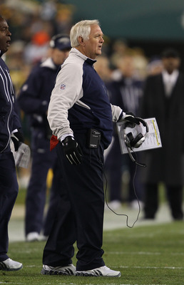 GREEN BAY, WI - NOVEMBER 07: Head coach Wade Phillips of the Dallas Cowboys complains to a referee during a game against the Green Bay Packers at Lambeau Field on November 7, 2010 in Green Bay, Wisconsin. The Packers defeated the Cowboys 45-7.  (Photo by