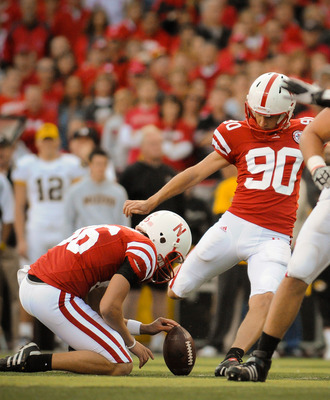 LINCOLN, NE - OCTOBER 30: Kicker Alex Henery #90 of the Nebraska Cornhuskers kicks an extra point during second half action of their game at Memorial Stadium on October 30, 2010 in Lincoln, Nebraska. Nebraska Defeated Missouri 31-17. (Photo by Eric Franci
