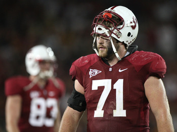 STANFORD, CA - NOVEMBER 15:  Andrew Phillips #71 of the Stanford Cardinals looks on near the end of the game against the USC Trojans at Stanford Stadium on November 15, 2008 in Stanford, California.  (Photo by Jed Jacobsohn/Getty Images)