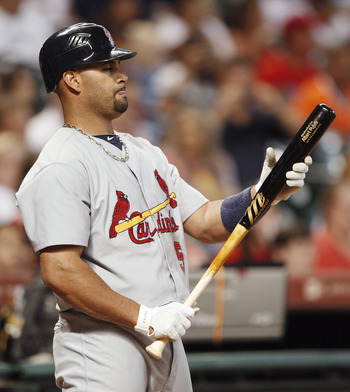 HOUSTON - AUGUST 30:  Albert Pujols #5 of the St. Louis Cardinals waits on deck during a baseball game against the Houston Astros at Minute Maid Park on August 30, 2010 in Houston, Texas. The Astros beat the Cardinals 3-0. (Photo by Bob Levey/Getty Images