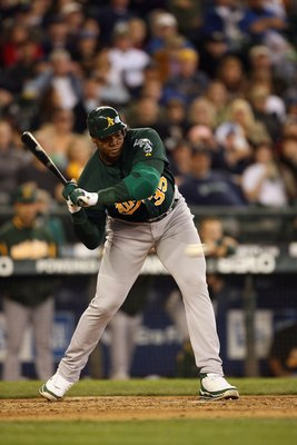 SEATTLE - APRIL 27:  Frank Thomas #35 of the Oakland Athletics bats against the Seattle Mariners on April 27, 2008 at Safeco Field in Seattle, Washington. (Photo by Otto Greule Jr/Getty Images)