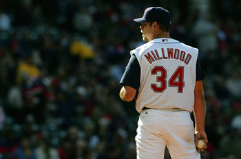 CLEVELAND - APRIL 11:  Kevin Millwood #34 of the Cleveland Indians readies to pitch against the Chicago White Sox during the game on April 11, 2005 at Jacobs Field in Cleveland, Ohio.  The White Sox defeated the Indians 2-1.  (Photo by Andy Lyons/Getty Im