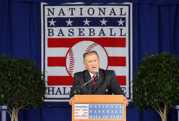 COOPERSTOWN, NY - JULY 25:  The 2010 inductee Whitey Herzog gives his speech at Clark Sports Center during the Baseball Hall of Fame induction ceremony on July 25, 20010 in Cooperstown, New York. Herzog served as manager for four teams and finished his ca