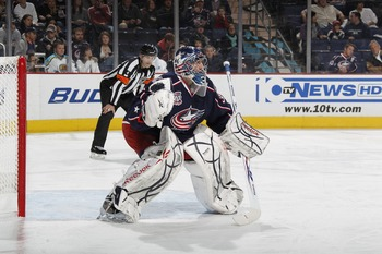 COLUMBUS, OH - JANUARY 11: Goalie Mathieu Garon #32 of the Columbus Blue Jackets skates against the Phoenix Coyotes during a game on January 11, 2011 at the Nationwide Arena in Columbus, Ohio. (Photo by Gregory Shamus/Getty Images)