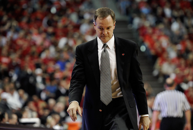 LAS VEGAS, NV - FEBRUARY 12:  Head coach Lon Kruger of the UNLV Rebels looks down during a game against the San Diego State Aztecs at the Thomas & Mack Center February 12, 2011 in Las Vegas, Nevada. San Diego State won 63-57.  (Photo by Ethan Miller/Getty