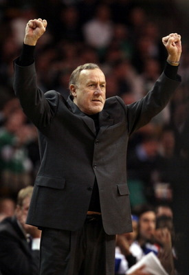 BOSTON, MA - JANUARY 10:  Head coach Rick Adelman of the Houston Rockets signals a play in the first half against the Boston Celtics on January 10, 2011 at the TD Garden in Boston, Massachusetts.  NOTE TO USER: User expressly acknowledges and agrees that,